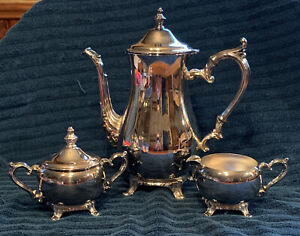 VINTAGE WM Rogers SILVER Plated Tea Coffee Set -Pitcher, Bowl, Creamer