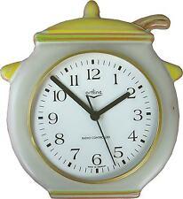 230001F Keramik Küchenuhr Artline Suppentopf braun gelb-grün-braun handbem.Funk