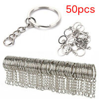 50X Polished Silver Key Rings Key Chain Split Ring Short Jewelry Findings DIDDAU