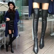 Sexy Women's Black Pointed Toe Thigh High Boots Over the Knee Winter Flats Shoes