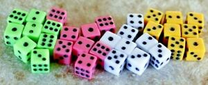 4 8 or 12 Mini 8mm Game Dice Dot Number 6 sided Poker Board Yahtzee Die Coloured