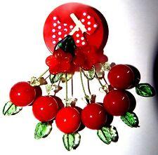 Vintage RED BAKELITE CHIP Wood Polka Dot Scottie Red Lucite Cherry Brooch Artist