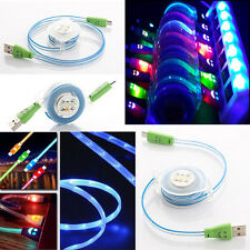 Retractable LED Light Smile Micro USB Charger Data Sync Cables For Mobile Phones