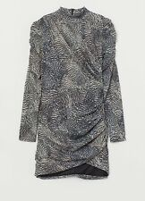 BNWT H&M Trend Stretch Bodycon Mini Dress Puff Sleeve Size Small 10