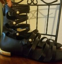 8f316913a Chanel Black Calfskin Strappy Heel Gladiator Sandals Shoes - Size 41