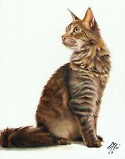 Original Oil Portrait Painting Art Maine Coon Brown Mackerel Tabby Cat Signed