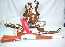 Vintage Hubley INDIAN SCOUT 7 Piece Cosplay Set Headdress, Gunbelt, Rifle, Vest