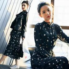 Women Black Chiffon Stars Print 2018 Long Sleeve Hot Shirt Dress Vintage Leisure