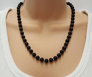 Womens Black Onyx Necklace, Jet Black Gemstone Jewellery 18, 20, 22, or 24 Inch