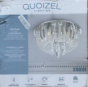 Quoizel Chateau 13.8-in Polished Chrome Modern/Contemporary Flush Mount 5-Light