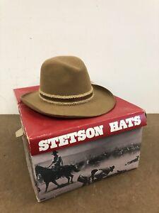 Vintage STETSON HAT Mens 7 1/8 fedora dress GUN CLUB Original Box 3X BEAVER FELT