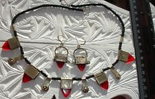 NIGER TUAREG Red main Engraved Necklace + agate beads + Earrings Jewellery Set