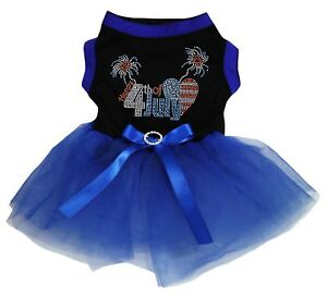 Sparkle Happy 4th Of July Black Cotton Top Royal Blue Tutu Pet Dog Puppy Dress