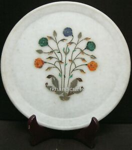 10 Inches Marble Inlay Plate with Luxurious Pattern Collectible Plate for Gift