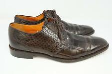 Mezlan Platinum Alligator Skin Oxford Dress Shoes Brown Men's US 11