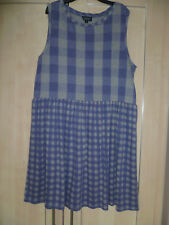 Topshop dress size 12 blue checked sleeveless round neck gathering from waist