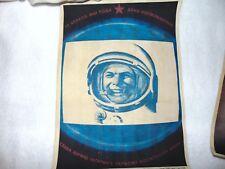 1961 Original Soviet The First Cosmonaut Space Race Atomic Era Poster 11 x 16