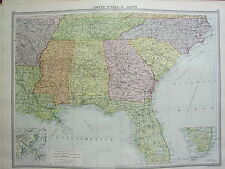 1920 LARGE MAP ~ UNITED STATES SOUTH ~ FLORIDA GEORGIA CARONLINA MISSISSIPPI