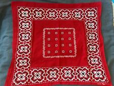 Elephant Trunk Down Vintage 1910s-1940s Bandanna Red Fast Color 100% Cotton