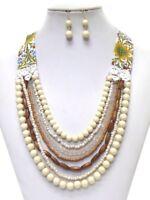 Ivory Cream Bead Necklace Earrings Multi Strand Fabric Quality Fast Ship USA Se