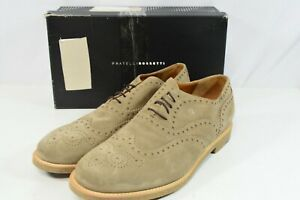 NIB Fratelli Rossetti One Tan Taupe Suede Wingtip Shoes Mens 11