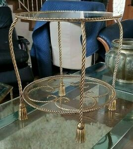 VINTAGE Italian Hollywood Regency Gilt Metal Rope & Tassel Side or Accent Table