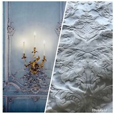 SALE!! Brocade Satin Fabric - Eggshell Blue White Floral Upholstery Damask