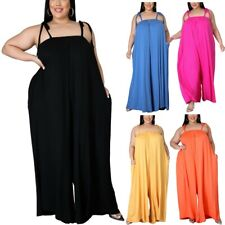 Women's Lace Up Plus Size Loose Jumpsuits Spaghetti Backless Solid Sexy Rompers