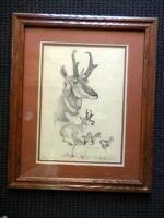 WESTERN ARTIST  EARL J CACHO PRONGHORN ART PRINT SIGNED #2/1500 FRAMED & MATTED