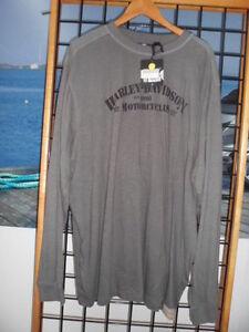NOS Harley Davidson Mens Crewneck Military-Inspired Grey Knit Shirt 96781-13VM