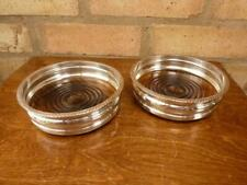 More details for 2 lovely vintage champagne wine bottle coasters silver plated wooden base