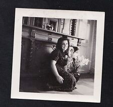 Old Vintage Antique Photograph Woman Sitting on Floor By Gorgeous Fireplace