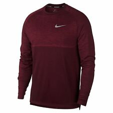 Nike Dri-Fit Knit Medalist Long Sleeve Running Top Shirt Red Crush DRY Large