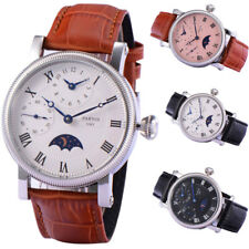 42mm PARNIS GMT Blue Hand Moon Phase Steel Case hand winding movement mens Watch