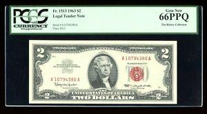 DBR 1963 $2 Legal Gem Fr. 1513 PCGS 66 PPQ Serial A10794380A