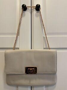 Authentic Michael Kors Sloan Leather Oversized Clutch/Handbag, RoseGold Chain
