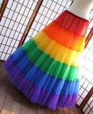 Carnival Rainbow Colorful Hoopless Petticoat Underskirt Wedding Prom Crinoline