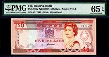 Fiji 5 Dollars ND (1992) QEII Pick-93a GEM UNC PMG 65 EPQ