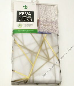 "Gold Crackle Mosaic Frosted Peva Vinyl Shower Curtain Standard Size 70""x72"""