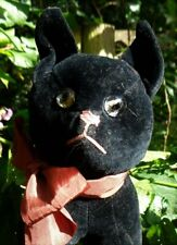 BEAUTIFUL & UNUSUAL ANTIQUE 1920S BLACK  VELVET CAT WITH JOINTED HEAD