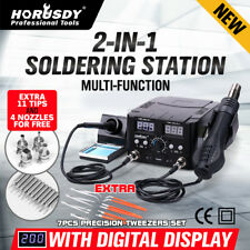 2 in 1 Soldering Rework Stations SMD Hot Air & Iron Desoldering Welder DC Power