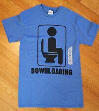 FUNNY GAG Joke POOP T-SHIRT SZ ADULT SMALL BLUE DOWNLOADING TSHIRT *NEW W TAGS*