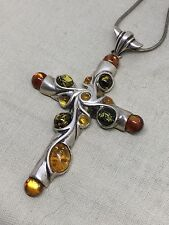 Vintage Sterling Silver Amber Cross Pendant Necklace 17 Grams W1-27