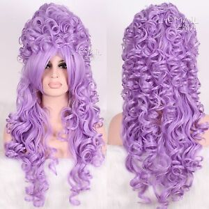 Marie Antoinete Baroque Lavender Renaissance Long Wave Curly Cosplay Wig zy34D