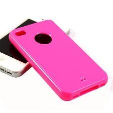 Guscio di silicone serie lucido confetto per iPhone 4 /4s Rosa Fucsia)