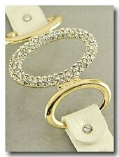 Beautiful Gold and Crystal Sparkle Bracelet on a White Shimmer Leather Band
