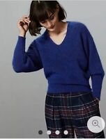 MARKS AND SPENCER AUTOGRAPH V NECK JUMPER WITH WOOL AND MOHAIR SIZE 22 BNWT