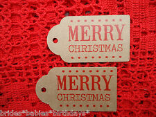 10 Kraft Brown Favour Gift Swing Tags MERRY CHRISTMAS Present Xmas Large