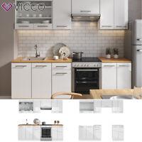 Küche FAME-LINE Küchenzeile Einbauküche Küchenblock 240cm Weiß Hochglanz Vicco