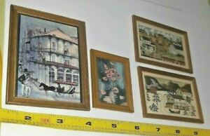 4 VINTAGE WOODEN DOLLHOUSE FRAME COUNTRY PICTURES PRINTS ARTIST DAUGHERTY LOT